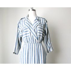 """FLASH SALE! Cotton Stripe Shirt Dress This adorable vintage 80's dress is made of a light cotton chambray fabric with nautical stripes woven throughout.   A thin elastic waist gives an easy and flattering fit.  This gem of a dress is in very good condition, ready to wear and ship.  Size: S/M LENGTH: 39"""" BUST:  36"""" WAIST: 19"""" to 30"""" HIPS: 39"""" SHOULDER: 16"""" Label: John Richard of California, no size tag john richard of california Dresses Midi"""