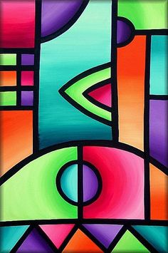 The Art of Amanda Hone - Gallery - Stained Glass Abstracts Abstract Geometric Art, Abstract Drawings, Art Drawings, Acrylic Art, Acrylic Painting Canvas, African Art Paintings, Cubism Art, Oil Pastel Art, Diy Canvas Art