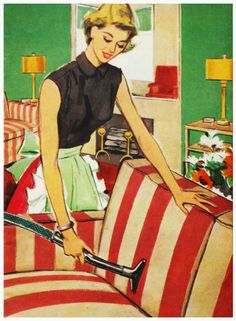 One of the 'joys' of being a housewife...vacuuming! ~ ca. early '60s