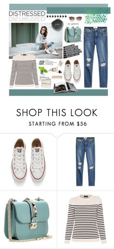 """""""True Blue: Distressed Denim"""" by gabree ❤ liked on Polyvore featuring Converse, Valentino, Saint James, The Body Shop and Gucci"""