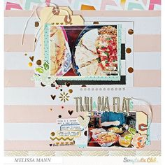 Scrapbook page created by designer Melissa Mann using the Scraptastic Club Darlene kit + add-on