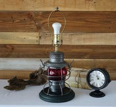 Vintage Industrial Railroad Lantern - the Adams & Westlake co Lantern - Repurposed Railroad Lantern in Electric Table Lamp by The1608shop on Etsy