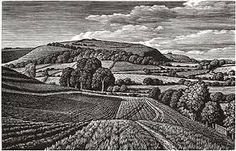 Winklebury Hillfort, Howard Phipps. Wood engraving