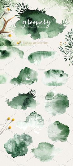 Greenery watercolor collection by Peace ART on @creativemarket