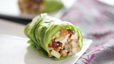 Fuji apples, red grapes, chicken breast, lite mayo and peanut butter wrapped in lettuce. These are great!
