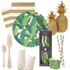 Paper Eskimo Troppo Leaf and Gold Crush Designer Partyware | Jungle theme baby shower or birthday party | Luau party ideas | Partyware available at papereskimo.com