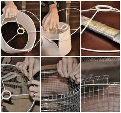 tutorial deconstructing lamp shade to build new with wire