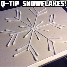 Q-tip Snowflake Winter Craft | 22 Unique Q-Tip Crafts | Cheap DIY Crafts For Kids - Enhance The Motor Skills of your Children with these Fun and Cool DIY Projects | http://diyready.com/q-tip-crafts-diy/