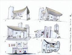 Notre Dame Du Haut Section Notre dame du haut Architecture Drawing Art, Light Architecture, Beautiful Architecture, Architecture Design, Architecture Illustrations, Santiago Calatrava, Frank Gehry, Zaha Hadid, Ronchamp Le Corbusier