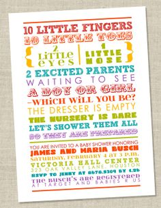 Items similar to Rainbow Baby Shower Invitation - colorful words, gender neutral, gender reveal, coed - poem or subway art shower (Printable Digital File) on Etsy Baby Shower Centerpieces, Baby Shower Favors, Baby Shower Cakes, Baby Shower Parties, Baby Shower Themes, Baby Shower Decorations, Baby Shower Gifts, Shower Ideas, Diaper Shower