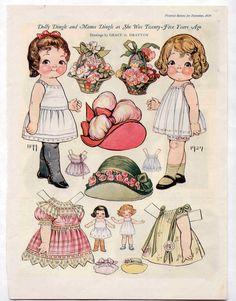 Vintage Dolly Dingle Mama Dingle as Twenty Five Years Ago Paper Dolls 1924 Uncut   eBay