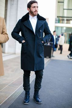 stand collar overcoat...regular jeans, white button up or white tee...ad shades to this