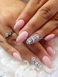 nail polish light pink diamonds almond nails