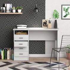 Tvilum Modern Walden Desk with 5 Drawers, White Finish Image 8 of 10 Home Office Desks, Home Office Furniture, White Furniture, Furniture Sale, Office Decor, Open Shelving, Shelves, Shelf Desk, Floating Desk