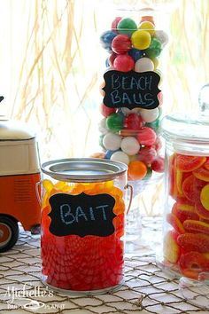 There are so many ways to make beach- and pool-themed candy buffets!