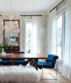 Navy Blue chairs & fur bench and wood