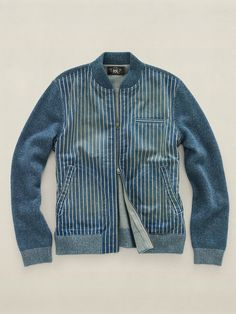 a31a45df5b8 Indigo Baseball Jacket with knitted sleeves