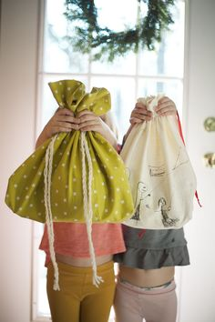 Cute fabric gift bags for wrapping presents!