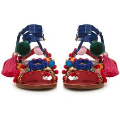Dolce & Gabbana Pompom-embellished leather flat sandals (2.825 RON) ❤ liked on Polyvore featuring shoes, sandals, blue flat shoes, flat leather sandals, leather shoes, red leather shoes and blue sandals