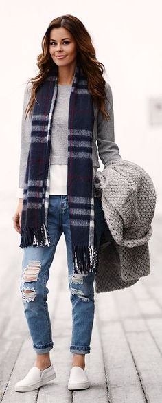 Layered Tops,Torn Jeans,Navy Plaidl Scarf #navy