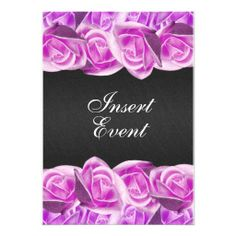 Pink black wedding elegant rose custom announcement