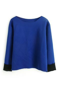 ROMWE | ROMWE Rolled Long Sleeves Blue T-shirt, The Latest Street Fashion