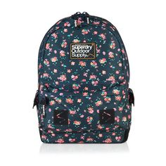Superdry Stem Floral Montana Rucksack ($49) ❤ liked on Polyvore featuring bags, backpacks, navy, logo backpacks, floral backpack, zipper bag, backpack bags and navy blue bag