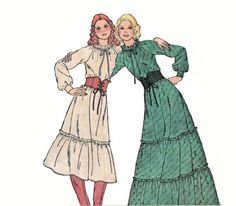 Vintage 1970s Misses Old West Frontier Modest Prairie Dress or Granny Gown Sewing Pattern by TheOldLeaf, $6.49 #QuasiVictorian #TheOldWest #VintagePatterns