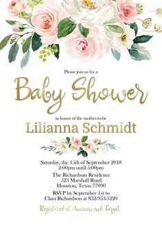 Baby Shower Invites For Girl, Baby Shower Fun, Baby Shower Parties, Baby Shower Invitations, Invitation Card Design, Floral Invitation, Digital Invitations, Wedding Tags, Wedding Gifts
