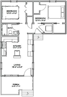Tiny House -- -- 643 sq ft - Add deck to empty quarter of the plan L Shaped House Plans, Small House Plans, House Floor Plans, L Shaped Tiny House, Shed House Plans, The Plan, How To Plan, Small Tiny House, Tiny House Living