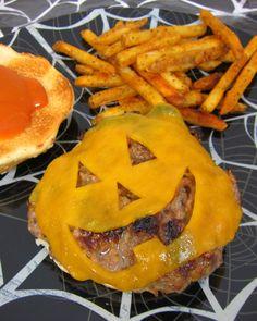 Jack-O-Lantern Cheeseburgers