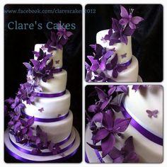 Round Wedding Cakes - Cadburys purple butterfly wedding cake. ~ Gorgeous ❗️⭐️⭐️❗️➕‼️‼️‼️➕‼️