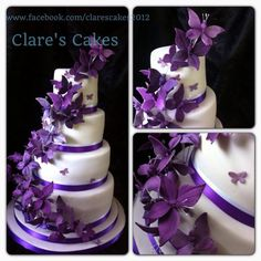 Round Wedding Cakes - Cadburys purple butterfly wedding cake. ~ Gorgeous ❗️⭐️⭐️❗️➕‼️‼️‼️➕‼️