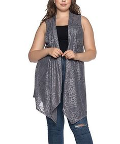 Look at this #zulilyfind! Gray Lace Long Open Vest - Plus #zulilyfinds