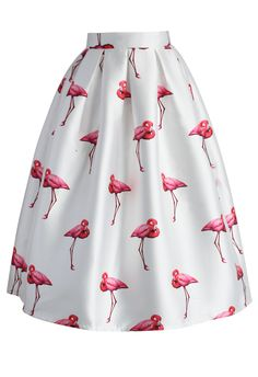 Elegante Falda Línea A con Estampado de Flamencos - Skirt - Bottoms - Retro, Indie and Unique Fashion