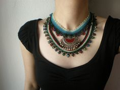 Old World - Nymphea ... Freeform Beaded Crochet Necklace by irregular expressions, via Flickr