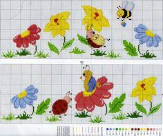 ♥ My point Graphs Cruz ♥: Bars 123 Cross Stitch, Baby Cross Stitch Patterns, Cross Stitch For Kids, Cross Stitch Borders, Cross Stitch Flowers, Baby Patterns, Cross Stitching, Baby Embroidery, Cross Stitch Embroidery