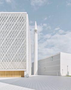 Melbourne, Mosque Architecture, Sacred Architecture, Portable Tent, Islamic Center, Architectural Section, White Concrete, Cultural Center, Temples