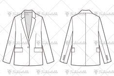 blazer jacket fashion flat Fashion Design Sketchbook, Fashion Design Drawings, Fashion Sketches, Flat Drawings, Flat Sketches, Technical Illustration, Technical Drawing, Blazer Fashion, Fashion Flats