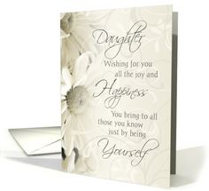 Happy Birthday Daughter - White Flowers card