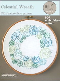 Celestial Wreath PDF Hand Embroidery Pattern via Etsy