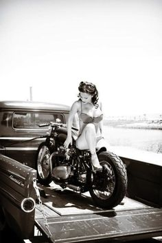 Old truck, Old Bike, and one hot bitch that looks just like me...Love this.