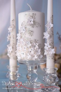 White Flower Unity Candle Set for Wedding Flower Candles Wedding Decor Wedding Set Bridesmaid Candle Unity Ceremony Wedding Unity Idea - Candles - Ideas of Candles - Unity Candle Holder, Candle Holders Wedding, Candle Set, Large Candles, Diy Candles, Pillar Candles, Floating Candles, Hanging Candles, Wedding Centerpieces