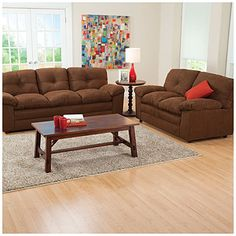 Create a cozy living room with this rich brown furniture collection. Get it at #BigLots now!