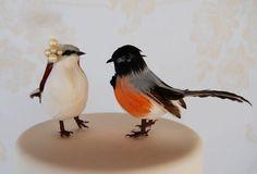 Spring Robin Love Bird Cake Topper in White Brown by beckykazana, $30.00