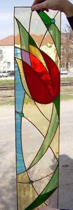 """Tulip"" Stained glass panel ~"