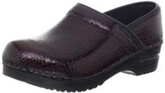 """Sanita Women's Original Professional Croco Closed Clog,Bordeaux Patent,36 EU/5.5-6 M US Sanita. $135.00. Approved by the APMA for its standards in arch support and orthopedic construction. Manmade sole. Heel measures approximately 1.5"""". Platform measures approximately 0.75"""" . Anatomically shaped footbed engineered for arch support. Made in Poland. Polyurethane rocker bottom construction is reinforced with a hard plastic frame for provide stability and durabilit..."""