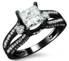 1.53ct Princess Cut Diamond Engagement Ring 14k Black Gold. I really love this one!