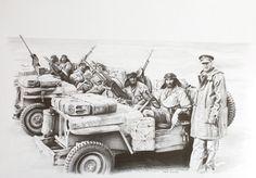 "Saatchi Art Artist Karl Hamilton-Cox; Drawing, ""Desert Special Air Service WW2"" #art Graphite Drawings, My Drawings, Special Air Service, Ww2, Saatchi Art, Monster Trucks, The Past, Artist, Artists"