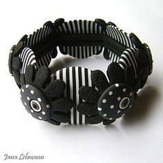 Polymer Clay Black & White Bracelet by feeliz on Flickr